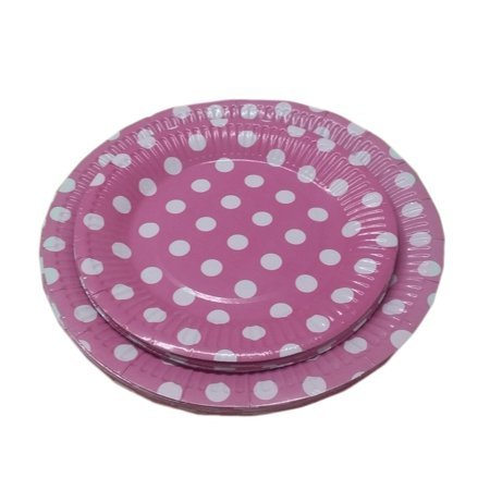 Dots Pink Dessert - 24 Light Pink And White Polka Dot Dinner And Dessert Plates- Pack Of 24- Includes 12 9 Inch And 12 7 Inch Party Plates. By Premium Disposables.