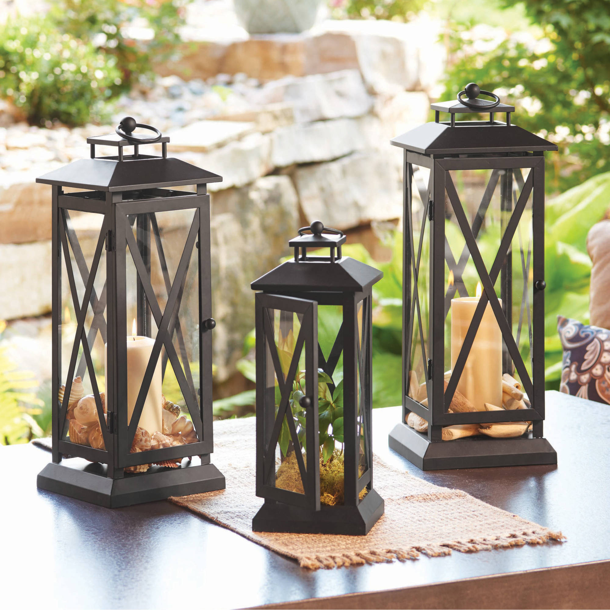 Better Homes and Gardens Crossbar Metal Outdoor Lantern