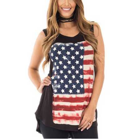 Dellytop - Womens US National Flag Print Sleeveless Casual T-shirt -  Walmart com