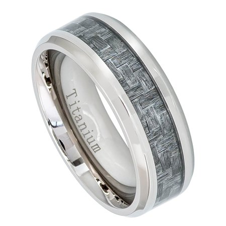 Ja Anium Rings Mens Wedding Band Charcoal Gray Carbon Fiber Inlay Comfort Fit Ring Tm474pl