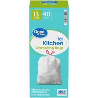Great Value Tall Kitchen Trash Bags, 13 Gallon, 40 Bags
