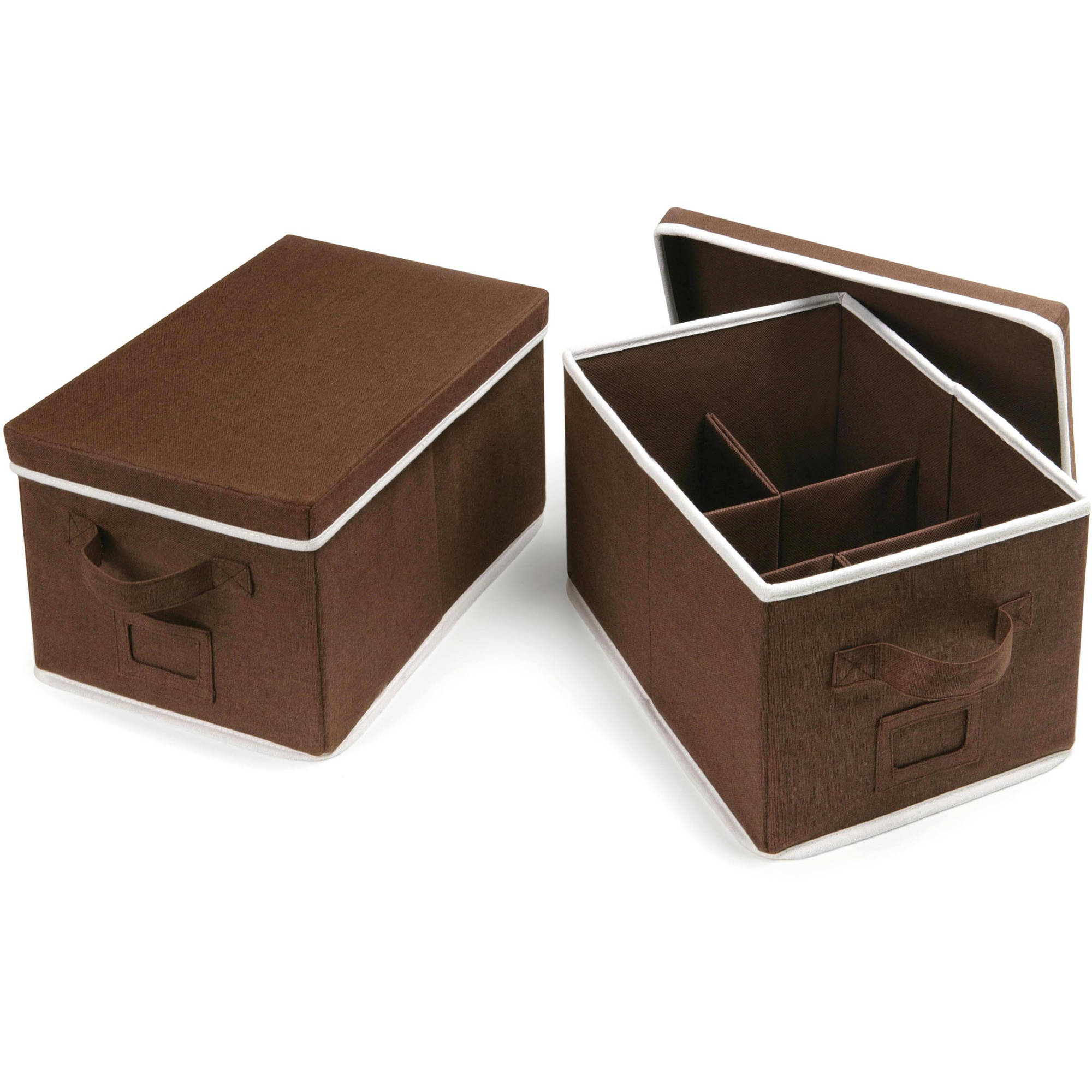 Badger Basket Medium Folding Storage Baskets with Adjustable Dividers,Set of 2, Choose Your Color