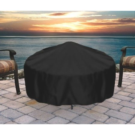 Sunnydaze Outdoor Round Fire Pit Cover, Heavy Duty 300D Polyester, Weather Resistant and Waterproof PVC Material, Black, 36 Inch ()