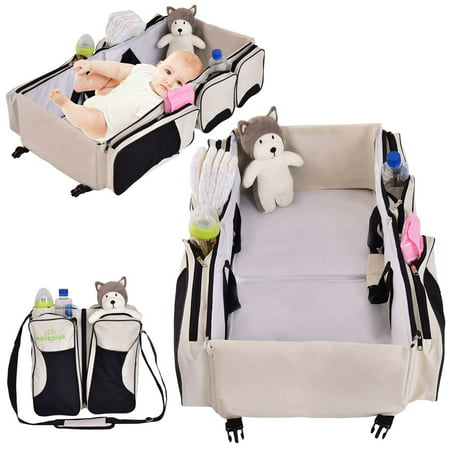 - Costway 3 in 1 Portable Infant Baby Bassinet Diaper Bag Changing Station Nappy Travel