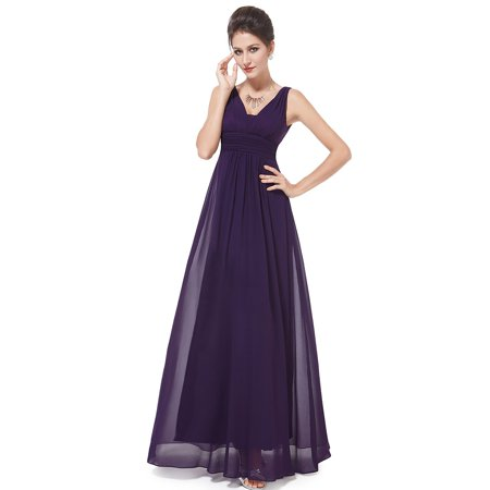 Ever-pretty - Ever-Pretty Women s Elegant Pleated Long Party Wedding Guest  Mother of the Bride Dresses for Women 8110P Purple US 14 - Walmart.com f44947285a