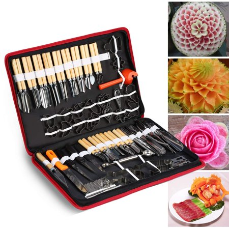 80Pcs Portable Culinary Carving Chiseling Tools Kit Food Vegetable Fruit Garnishing Peeling Cutting Tool Set For Professional Amateur Chef Kitchen Food Carving Art