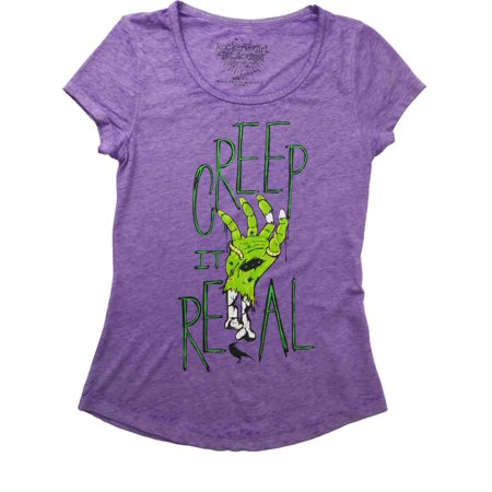 Womens Neon Purple Mummy Hand Halloween Tee Shirt Creep It Real T-Shirt - Nekos Halloween