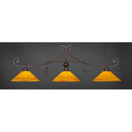 3-Light Curl Bar Lights w 16 in. Firre Saturn Glass Shades