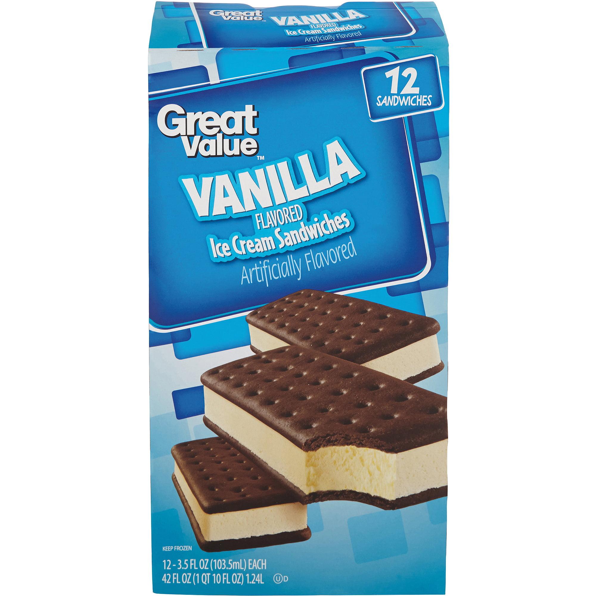 Great Value Vanilla Flavored Ice Cream Sandwiches, 3.5 fl oz, 12 count