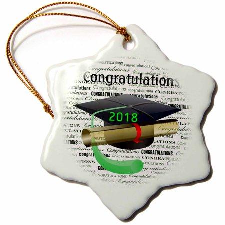 3dRose Image of Congratulations Black Cap Green Tassel On Message - Snowflake Ornament, 3-inch