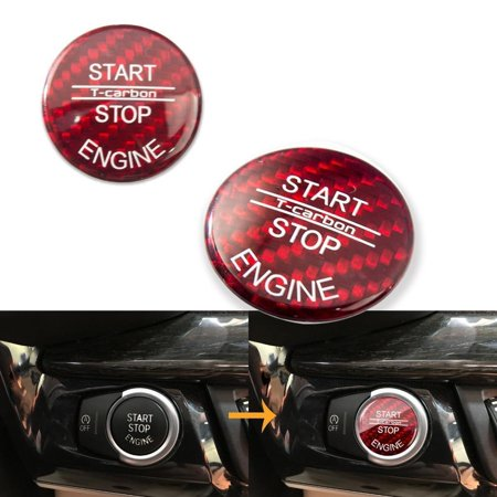 - Xotic Tech Red Carbon Fiber Keyless Start Stop Button Trim Cover Cap for BMW X5 X6 E70 E71 2007-2014