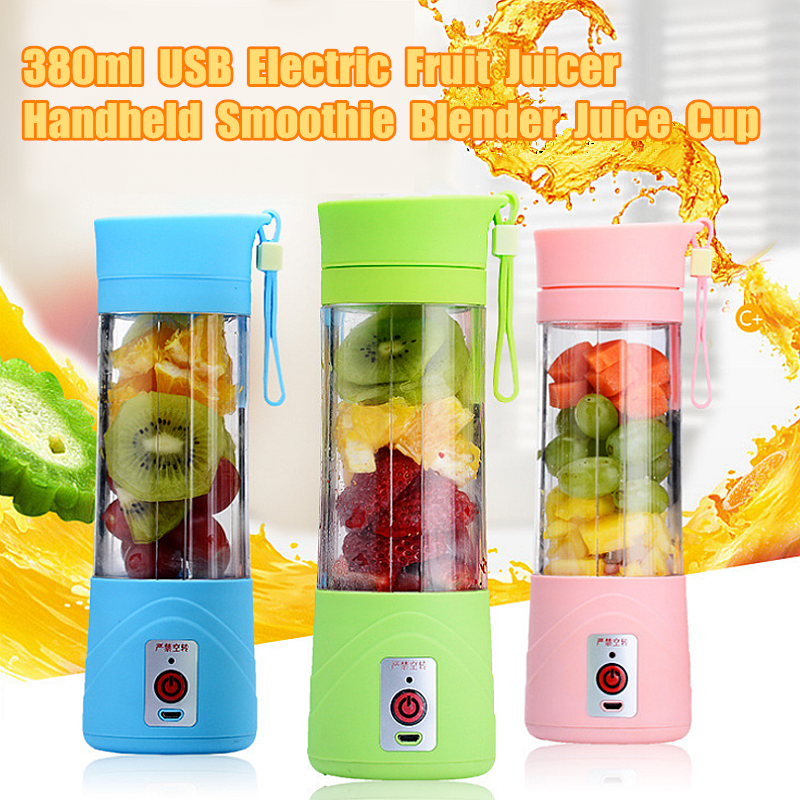 380ml USB Mini Fruit Vegetable Juice Fruit Juicer Handheld Extractor Smoothie Maker Blender Juice Cup for Outdoor Sporting Camping DIY Juice Bottle