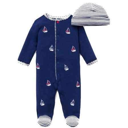 Little Me Sailboat Nautical Snap Front Footie Pajamas with Hat For Baby Boys Sleep N Play One Piece Romper Coverall Infant Footed Sleeper; Pijamas Para Bebes - Red, White, Navy Blue - Preemie