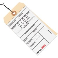 White / Manila 6.25 Inch x 3.13 Inch-(0000-0499) 10 Point Cardstock Inventory Tags 2 Part Carbonless # 8-Pre-Wired CASE OF 500