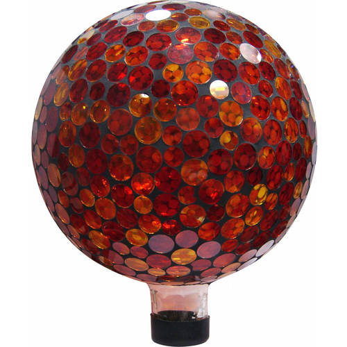 "10"" Mosaic Gazing Ball, Red Yellow by Alpine Corporation"