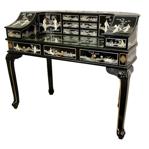 Oriental Furniture Lady's Roll Top Desk with Mother of Pearl Design