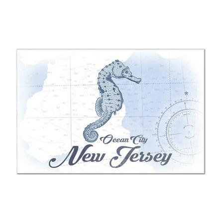 Ocean City, New Jersey - Seahorse - Blue - Coastal Icon - Lantern Press Artwork (12x8 Acrylic Wall Art Gallery Quality)