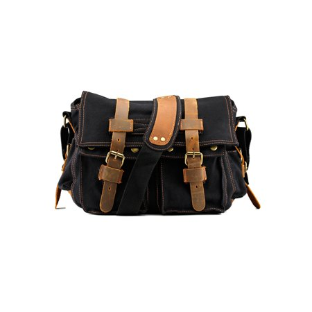 Men's Vintage Canvas and Leather Satchel School Military Shoulder Bag Messenger - Black Black Mini Messenger Bag