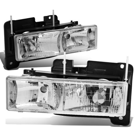 Chevy Gmc Tahoe Headlight Headlamp (For 1988 to 2000 Chevy GMC C10 C/K Pickup Suburban Tahoe Yukon Pair Chrome Housing Front Bumper Headlight Lamps 89 90 91 92 93 94 95 96 97 98 99 )