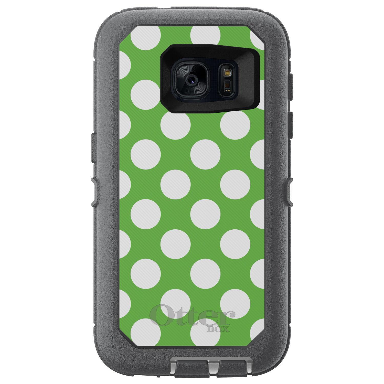 DistinctInk™ Custom Grey OtterBox Defender Series Case for Samsung Galaxy S7 - White & Green Polka Dots