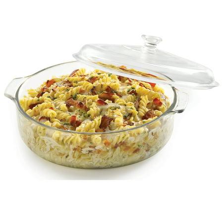 3 Quart Casserole - Libbey Baker's Basics Glass Casserole Dish with Cover, 3-quart