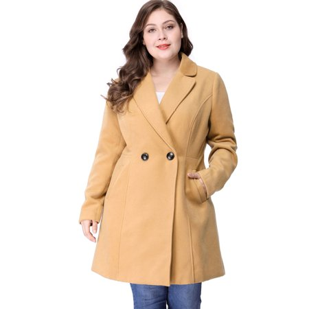 Women's Plus Size Long Sleeve Double-breasted Notched Lapel Coat Brown 1X