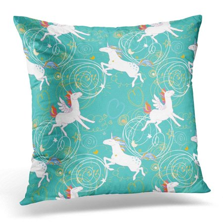 ARHOME Patterns with Unicorns Pegasus Pony Dream with Cute Magic Collection with Rainbow Fairy Wings Stars Pillow Case Pillow Cover 20x20 inch - Rainbow Pegasus