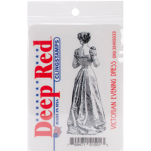 Deep Red Cling Stamp, Victorian Evening Dress