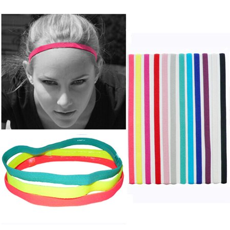 Elastic rope Candy color Sports Yoga Hair band headband Running head with football Non-slip hair Accessories (Pink) Candy Pink Peony Headband