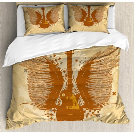 Brown Caramel (Classic Rock Duvet Cover Set King Size, Electric Guitar with Wings Design on Grungy Background, Decorative 3 Piece Bedding Set with 2 Pillow Shams, Sand Brown Warm Taupe Pale Caramel, by Ambesonne)