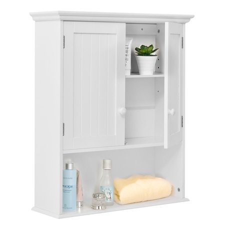 Costway Wall Mount Bathroom Cabinet Storage Organizer Medicine Kitchen Laundry