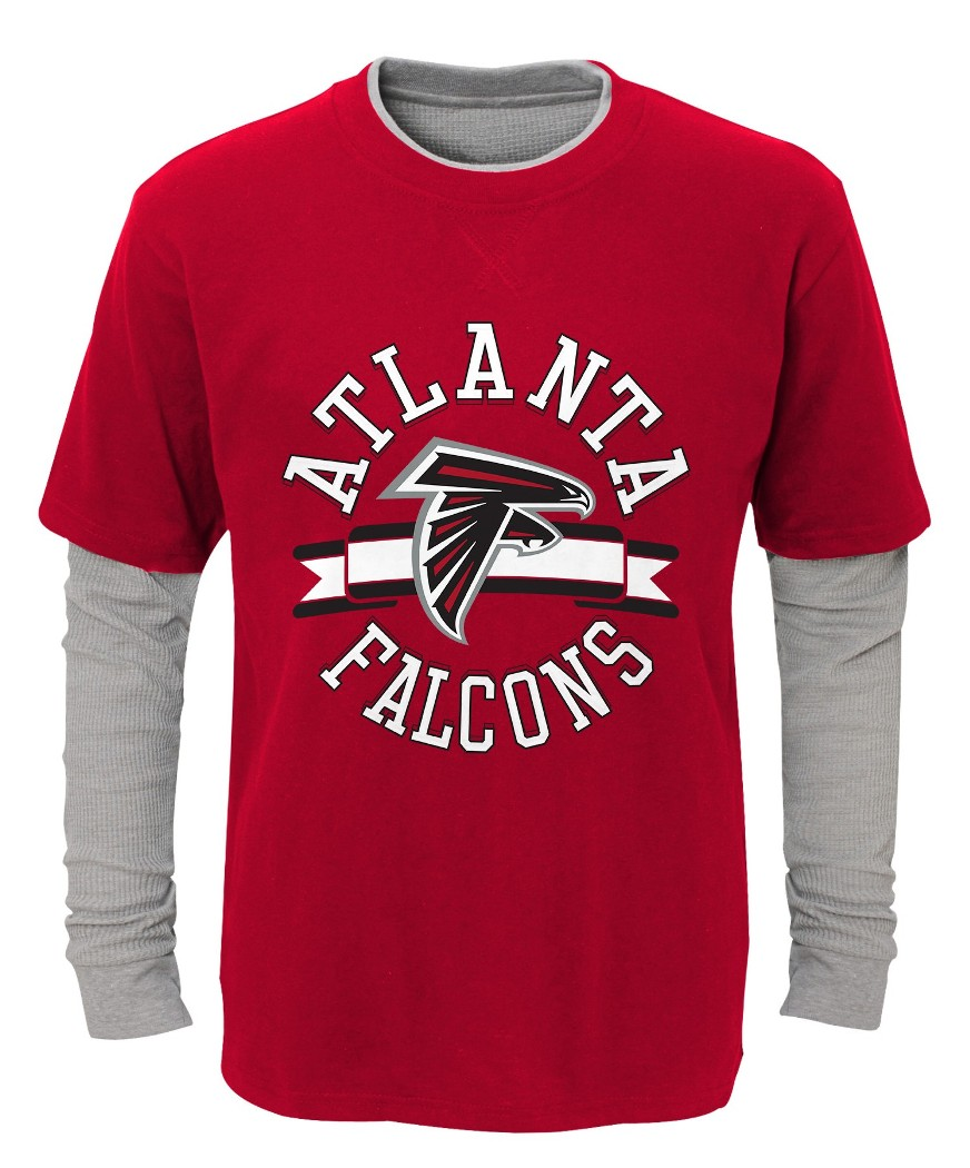 "Atlanta Falcons Youth NFL ""Definitive"" L S Faux Layer Thermal Shirt by Outerstuff"
