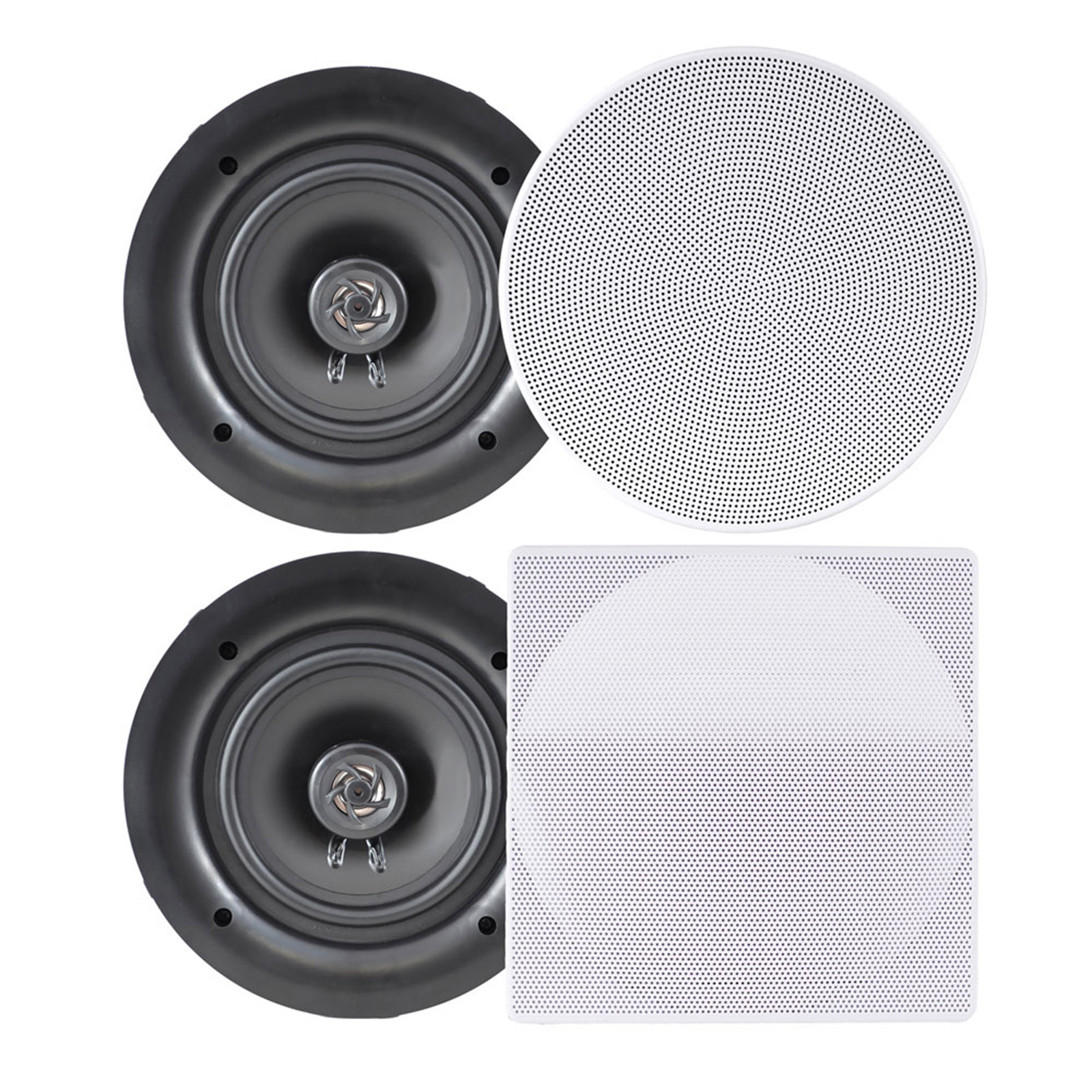 "Pyle 6.5"" In-Wall / In-Ceiling Dual Stereo Speakers, 200 Watt, 2-Way, Flush Mount, White"