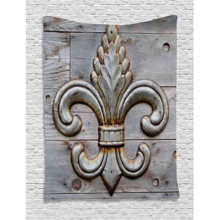 Fleur De Lis Tapestry, Ancient Lily Symbol on Weathered Old Wooden Planks Historical Theme Image, Wall Hanging for Bedroom Living Room Dorm Decor, Grey Brown, by Ambesonne