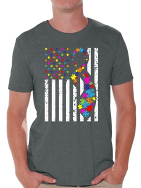 d8ee96c0 Product Image Awkward Styles USA Flag Autism Shirts for Men Autism  Awareness Ribbon T-shirt American Flag