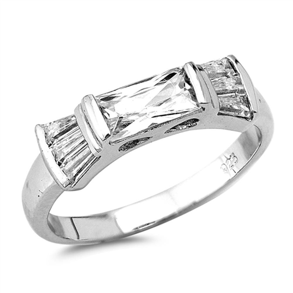 Rectangle Clear CZ Unique Wedding Ring ( Sizes 5 6 7 8 9 10 ) New .925 Sterling Silver Band Rings by Sac Silver (Size 10)