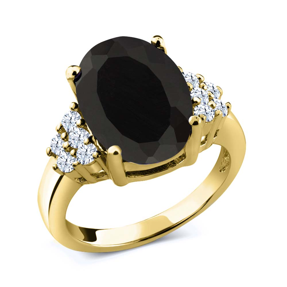 4.40 Ct Oval Black Onyx White Created Sapphire 14K Yellow Gold Ring