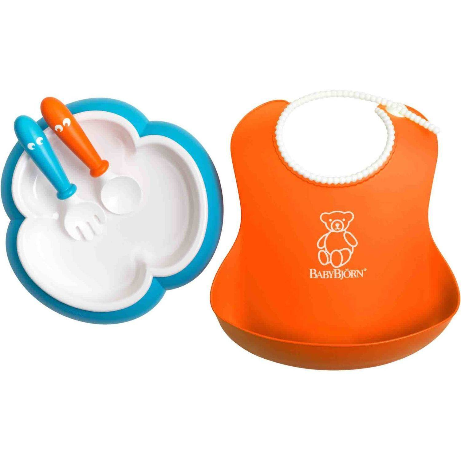 BabyBjorn Baby Feeding Set, Orange Soft Bib, Turquoise Plate, Orange Spoon and Turquoise Fork by Baby Swede