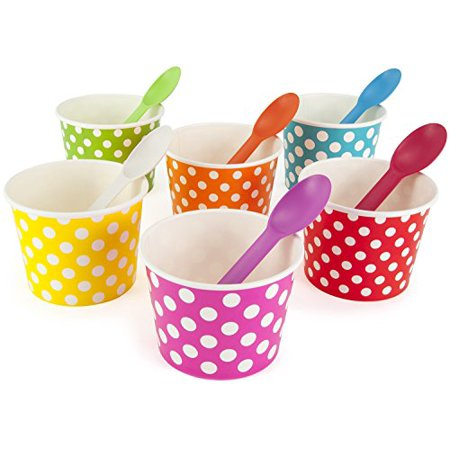 Rainbow Paper Polka Dot Ice Cream Cups 12 oz (qty 60) & Matching Plastic Spoons (qty 60) Set (by BrightandBold)](Disposable Ice Cream Cups)