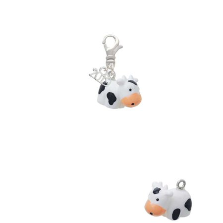 Resin Black and White Cow - 2019 Clip on Charm Black Cow Charm