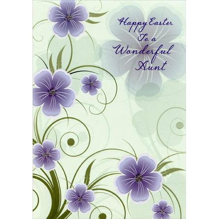 Designer Greetings Purple Flowers on Mint Green: Aunt Easter Card