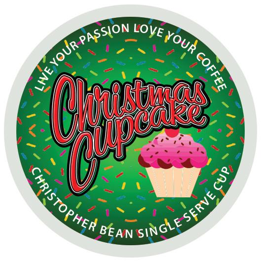 Coffee Cupcake - Christmas Cupcake Single Cup Coffee Christopher Bean Coffee, K Cup Pods.  (18 Count Box) Keurig Compatible