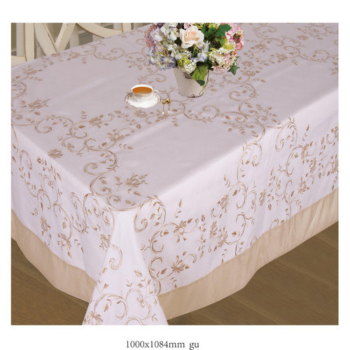 Violet Linen Lisbon Embroidered Vintage  Tablecloth