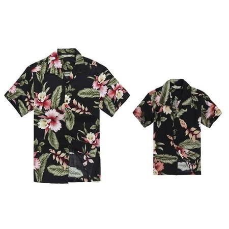 Matching Hawaiian Luau Outfit Men Boy Shirts in Black Rafelsia Men XL Boy 12](Luau Menu)