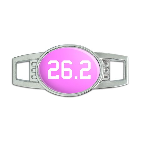 (26.2 on pink - marathon - runner Oval Slide Shoe Charm)