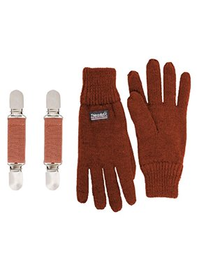 SANREMO Unisex Kids Knitted Fleece Lined Warm Winter Gloves and Glove Clips set (4-7, Rust)
