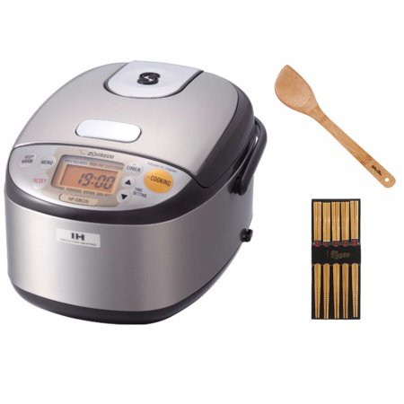 Zojirushi NP-GBC05-XT 3-Cup Rice Cooker and Warmer with Induction Heating System + Silk Wrapped Chopsticks 5-Pack + 15-Inch Bamboo Stir Fry - Zojirushi Rice Container