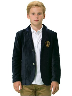 Leo&Lily Boys Kids Cotton Fine Velvet Blazers Jackets With Lining Marine