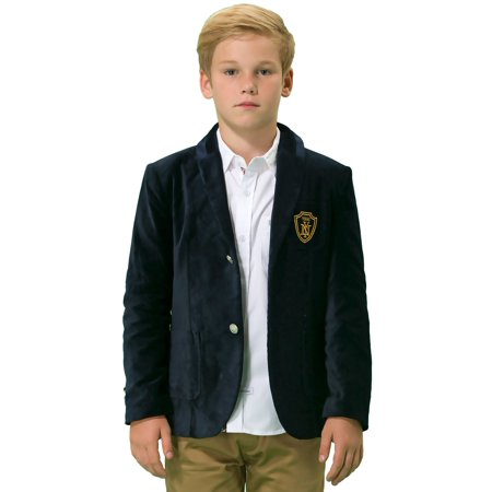 Leo&Lily Boys Kids Cotton Fine Velvet Blazers Jackets With Lining Marine - Velvet Blazer