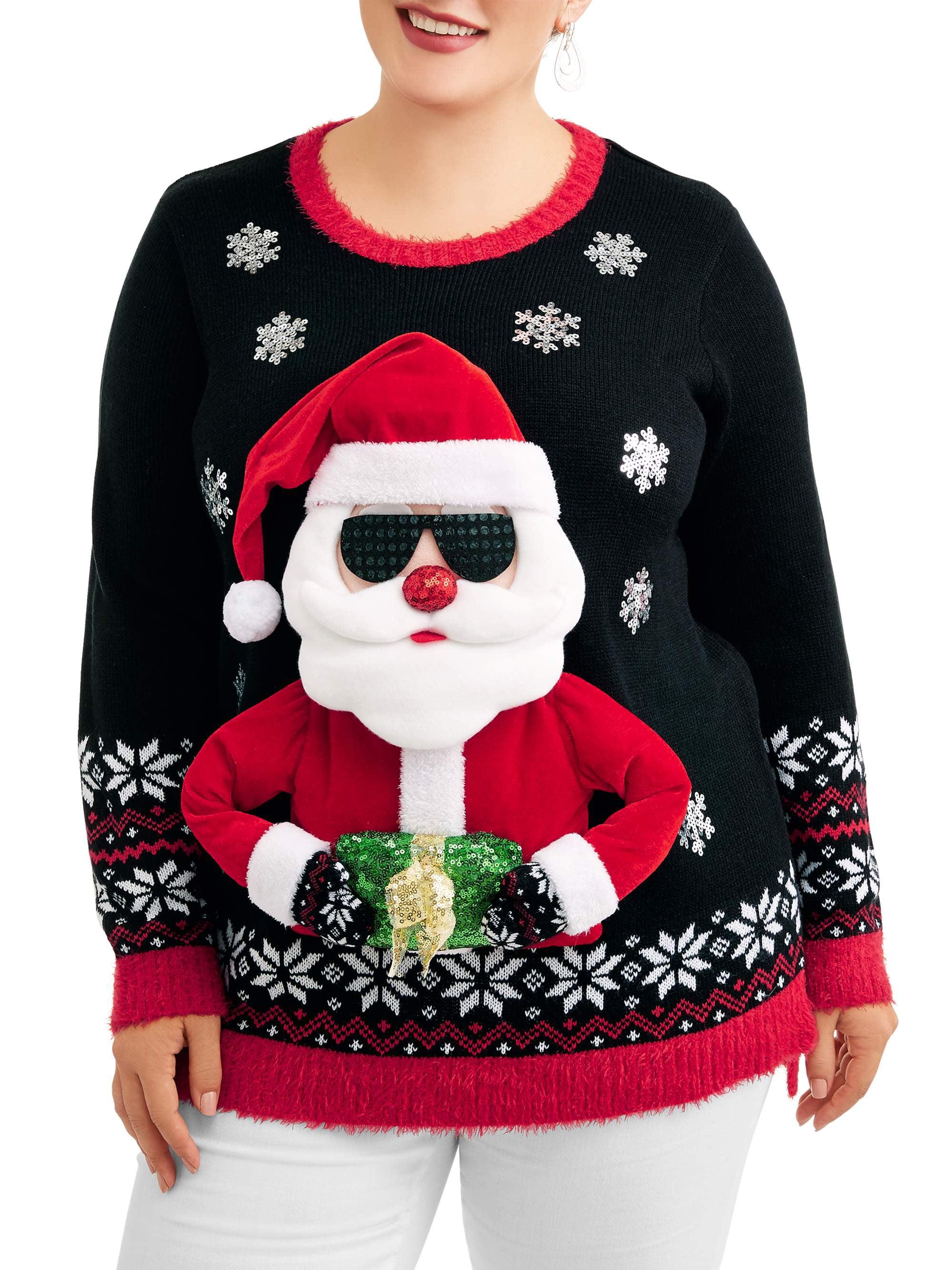 a26c5b69435 Holiday Time Women s Plus Cool Santa Christmas Sweater – Walmart ...